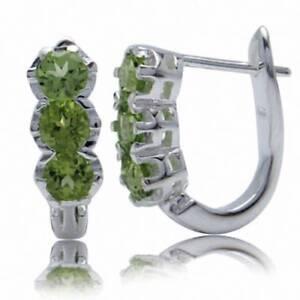 1-92ct-3-Stone-Natural-Peridot-925-Sterling-Silver-English-Huggie-Hoop-Earrings