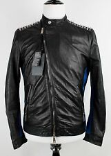 NWT DSQUARED2 Black Studded Leather Asymmetrical Moto Jacket Justin Bieber 40!
