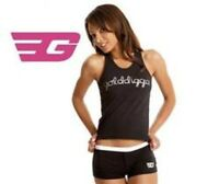 Golddigga Black & Silver Shortie Pyjama Set Shorts Vest 8 10 12 14 PJ's XS S M L