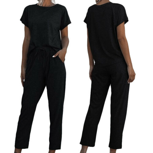 Women/'s Casual Short Sleeve Tops Bottom Jogging Loungewear Suit Tracksuit Set
