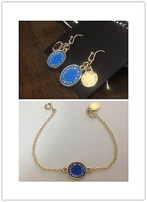 HOT MARC BY MARC JACOBS GOLD LETTERS BLUE DISC EARRINGS BRACELET #J0018