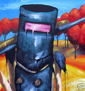 Original art painting by Andy Baker Australia Ned kelly abstract canvas