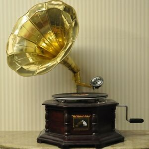 Replica Gramophone Player 78 rpm Hex phonograph Brass Horn HMV Vintage Wind up