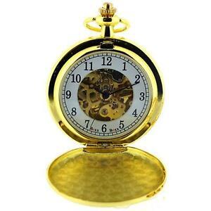 Boxx Da Uomo Goldtone Scheletro Meccanico Orologio Da Taschino Catena di 12 pollici Boxx243