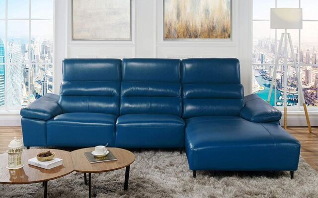 Leather Match Sectional Sofa With Low Frame Left Chaise Navy