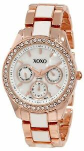 XOXO-Women-039-s-XO5584-Rhinestones-Accent-Rosegold-White-Bracelet-Watch