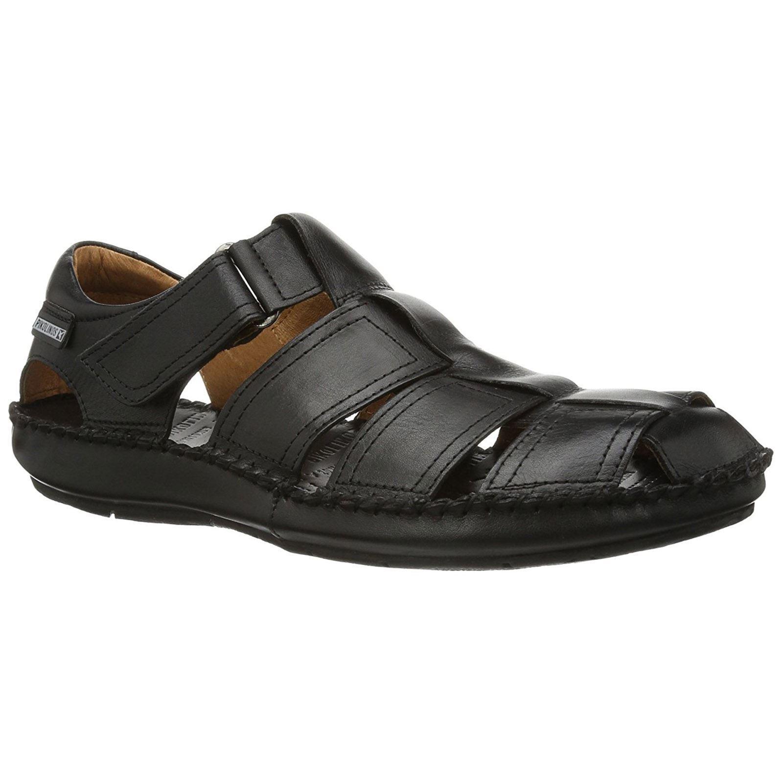 Pikolinos Tarifa 06J-5433 Black Mens Leather Fisherman Strappy Sandals