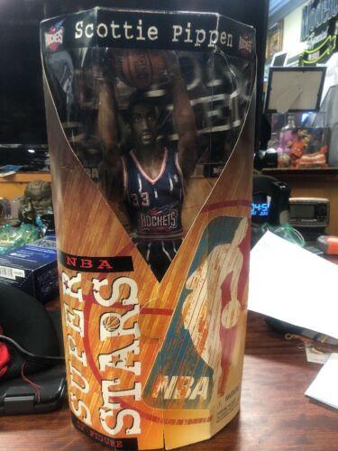 "NBA SUPER STARS Scottie Pippen 13/"" NEW IN BOX figurine Houston Rockets 1997 Mattel"