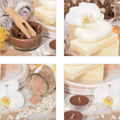 Fliesen-Aufkleber SPA Wellness Orchidee Salz Seife Kerzen Beige Braun Bad Deko