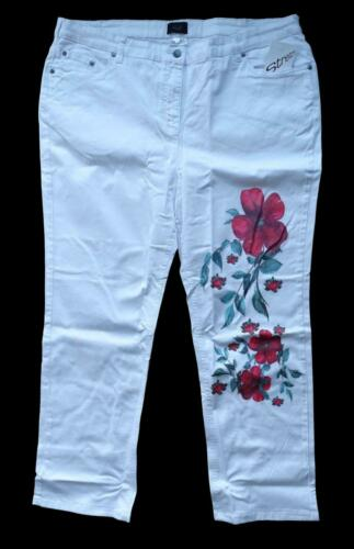 50,52,54 NEU Kurzgröße Dame Stretch Jeans Hose weiß Blumendruck Gr.25,26,27