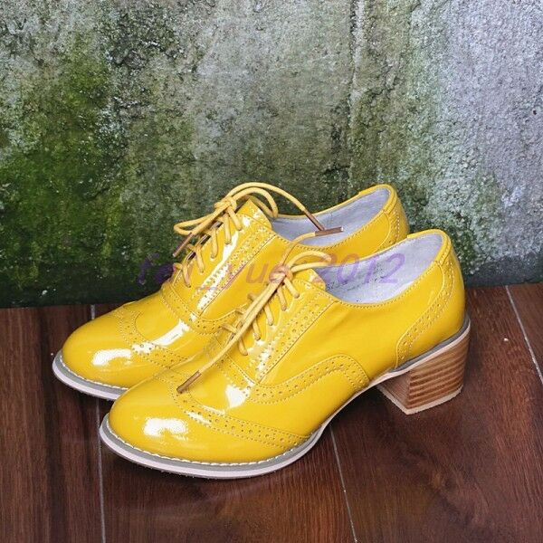 femmes Leather Brogue Lace up Mid Cuban Heels Oxfords Court Party chaussures Pumps