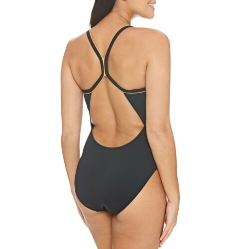 Zoggs Womens Conquest Piped Sprintback Swimming Swim Pool Swimsuit Costume Black