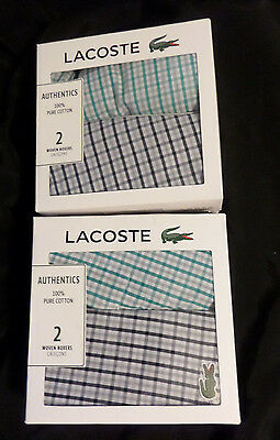 Lacoste Mens New Underwear in box 2 Woven Cotton Plaid Boxers Size Small NIB