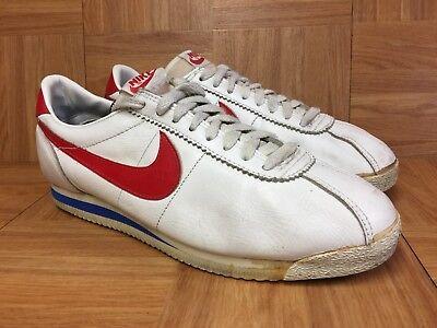 100% authentic cc195 f418b Vintage🔥 Nike Cortez Forest Gump Size 10 White Leather Blue Red Original  1985 | eBay
