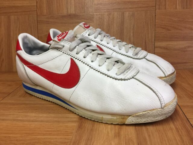 new release superior quality new specials Vintage🔥 Nike Cortez Forest Gump Size 10 White Leather Blue Red Original  1985