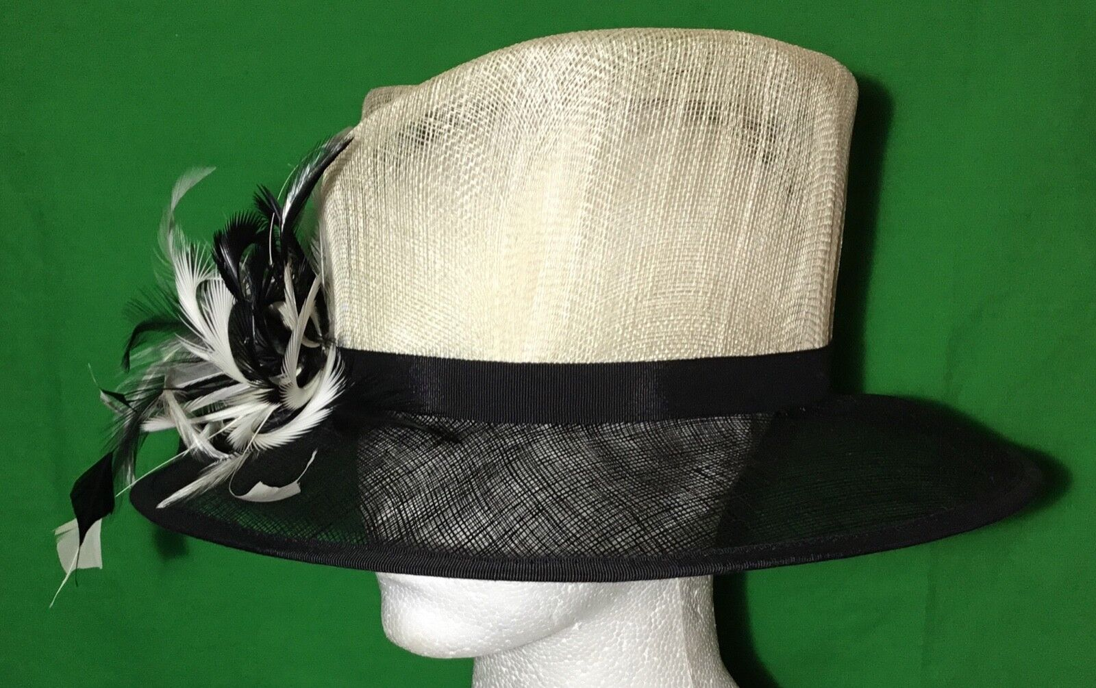 * HATBOX * Ivory Black Natural Fibre Hat with Feather Detail Wedding Races