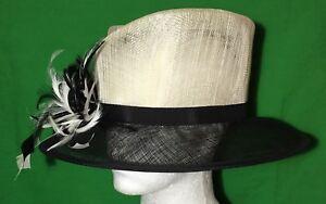 * Boite à Chapeau * Noir D'ivoire Fibre Naturelle Chapeau Avec Plume Détail Mariage Courses-afficher Le Titre D'origine DernièRe Mode