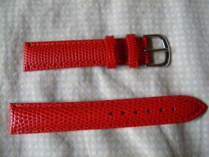 18 Mm Bracelet Pour Montre En Cuir Veritable Cousu Grain Lezard Rouge De Haute Qualité Et Peu CoûTeux