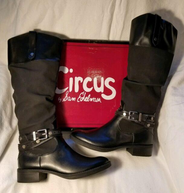 b95036b8e Circus Sam Edelman Paxton Black Leather Rider Knee High Block Heel Boot 6.5   100