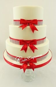 WEDDING-CAKE-BOW-amp-RIBBON-DIAMANTE-TRIM-SET-LOTS-OF-COLOUR-OPTIONS-CAKE-TOPPER