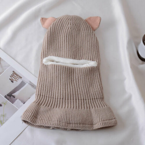 Kids Winter Pompom Girls Boys Warm Cap Scarf Set Baby Ears Knitted Beanies Hat N