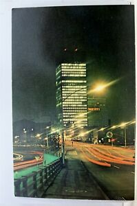 New-York-NY-Rochester-Downtown-Night-Xerox-Building-Postcard-Old-Vintage-Card-PC
