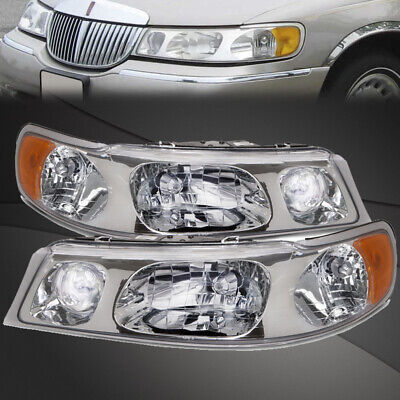 For 98 02 Lincoln Town Car Halogen Headlights New Replacement Set Ebay