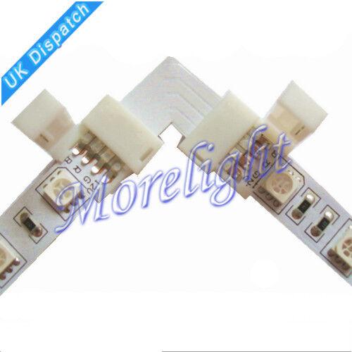 Lot x 5pcs LED Strip L-Shape Connector Clip For 4pin RGB Flexible Light 5050 UK
