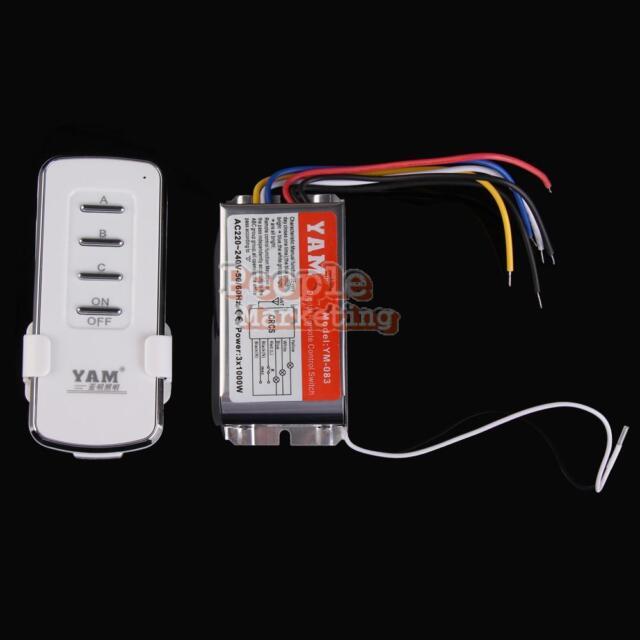 P4PM 220V-240V 3 Channels Ports Digital Wireless Remote Control Wall Switch
