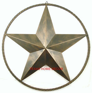 Metal Barn Star with Rope Ring Circle Large Texas Western ...