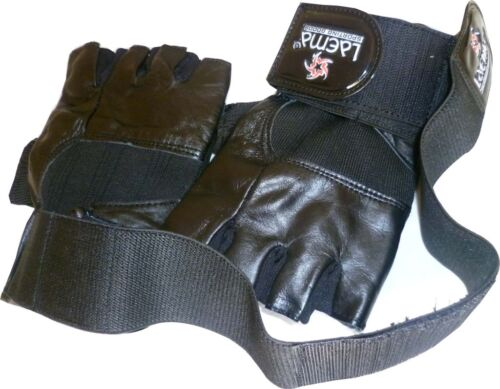 GENUINE LEATHER GYM WEIGHT TRAINING LIFTING GLOVES-STRETCH BACK