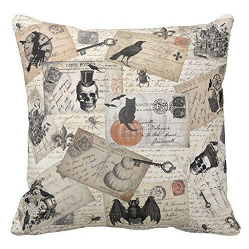 Skull Black Cat Crow Bat Autumn Fall Throw Pillow CoverSham Halloween 18 x 18