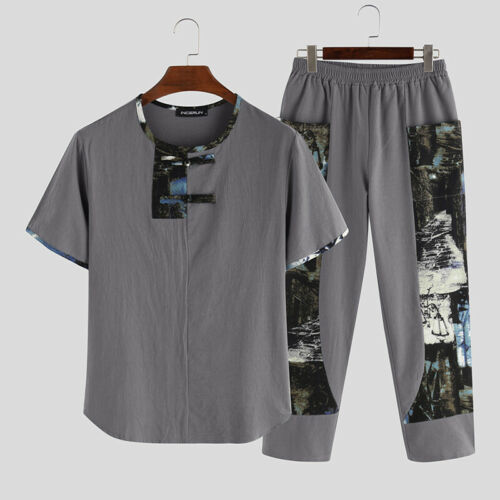 2PCS Mens Chinese Style Suits Short Sleeve Casual Shirts Pants Set Casual Suits