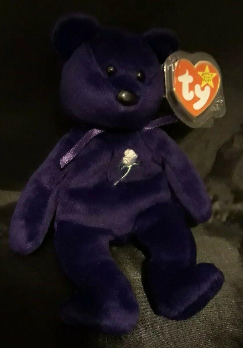 TY Beanie Baby 1997 Princess Princess Princess Diana made in Indonesia purple soft toy teddy bear adf90e