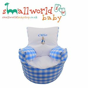 Personalised-Blue-Gingham-amp-Pete-Rabbit-Toddler-Bean-Bag-Chair-NEXT-DAY-DISPATCH
