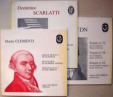 Lot 3 LPs Agnès GILLIERON Pianoforte : Clementi, Scarlatti & Haydn sonatas..