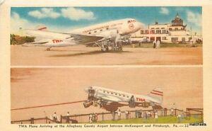1940s-TWA-Airlines-Plane-Pittsburgh-Pennsylvania-linen-postcard-Dexter-4907