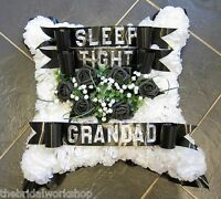 Funeral Flowers Grave Tribute Floral Based Cushion, Name & Card - All Colours