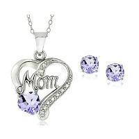 925 Silver Amethyst & Diamond Accent MOM Heart Necklace & Earrings Set