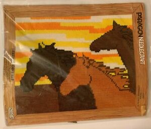 Vintage-Paragon-Horses-Needlecraft-Needlepoint-Kit-Horses-5403