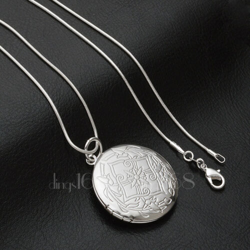 Daily Special 70/%OFF 925Sterling Silver Round Flower Locket Necklace Chain D704