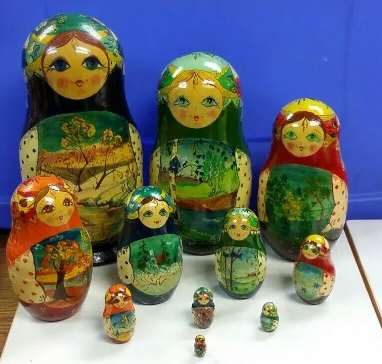 1993 Artist Signed 11 Russian Nesting Hand Painted Wooden Dolls 10-1/2