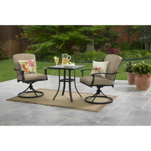Remarkable 3 Pcs Bistro Set Outdoor Patio Furniture Swivel Chairs Cushions Yard Deck Tan Ncnpc Chair Design For Home Ncnpcorg