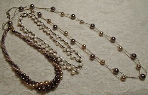 VINTAGE-TO-NOW-BROWN-amp-WHITE-GLASS-amp-LUCITE-FAUX-PEARL-BEADED-NECKLACE-LOT