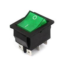 1pcs Illuminated Green Light Dpdt On Off Snap In Rocker Switch Ac 220v 15a