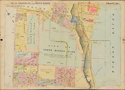 HUDSON COUNTY 1909 NORTH BERGEN NEW JERSEY NORTH HUDSON PARK PLAT ATLAS MAP
