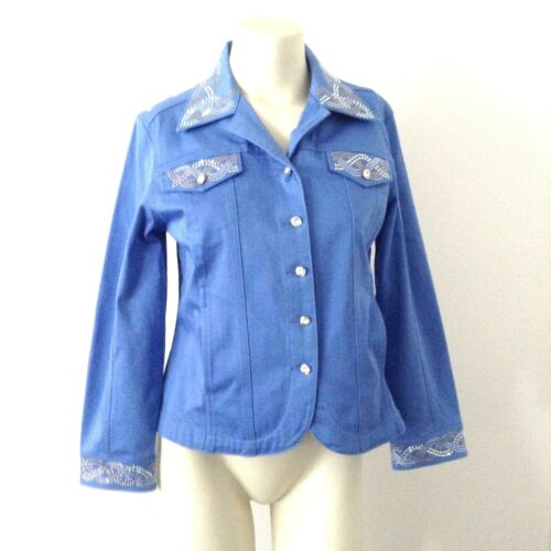 Denim Crystal Jacket Størrelse Blazer Medium Alexander B5 Studded Swarovski Christine wIEnSHxqvO