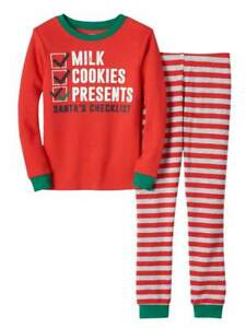 6c2456e7ab96 Carters Boys Red Santa s Checklist Christmas Pajamas Milk   Cookies ...