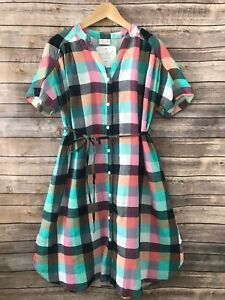 4017c16c3f026 Details about Women's Isabel Maternity by Ingrid & Isabel Plaid dolman tie  waist shirt dress