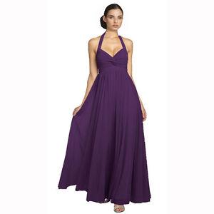 Beaded Halter Neck Full Length Formal Evening Gown Bridesmaid ...